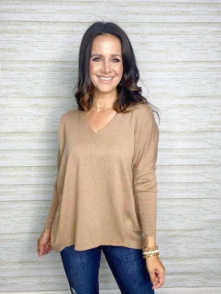 Lennon High/Low Soft Knit Sweater - Taupe