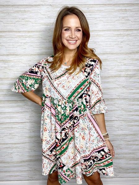 FINAL SALE - Parker Mixed Print Babydoll Dress
