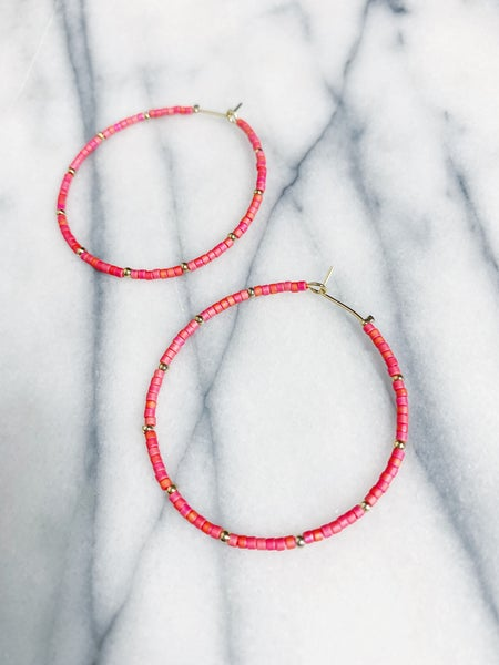 Parksdale Beaded Hoops - Pink