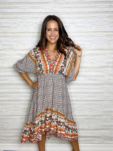 FINAL SALE - Isla Mixed Print Tie Back Dress