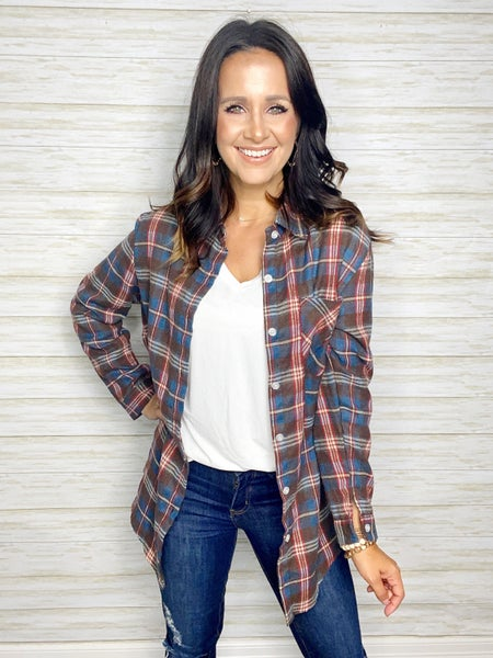 Aspen Plaid Tunic - Navy