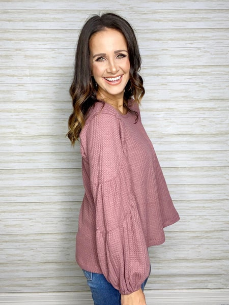 Zoey Tiered Sleeve Waffle Knit Top - Mauve