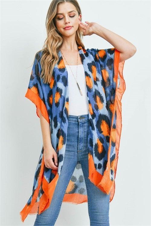 Karina Blue Leopard Print Kimono