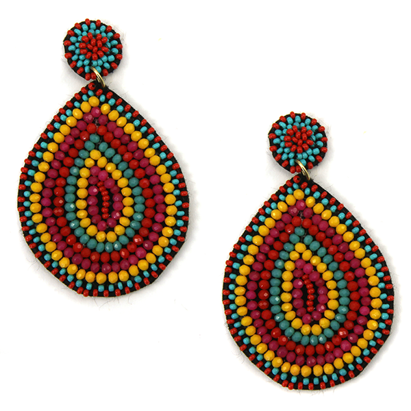 Beaded Teardrop Earrings- Multi
