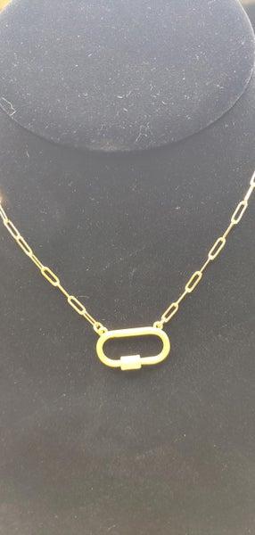 Hazel & Anne Matte Gold Carabiner Necklace