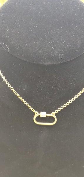 Hazel & Anne Gold Rhinestone Small Carabiner Necklace