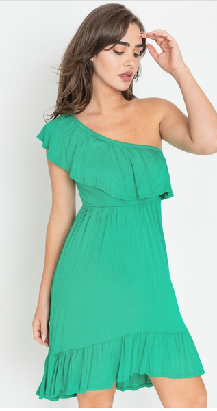 Keep It Chill Cold Shoulder Dress in Green