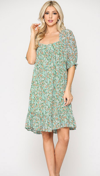 Floral Bouquet Dress in Green