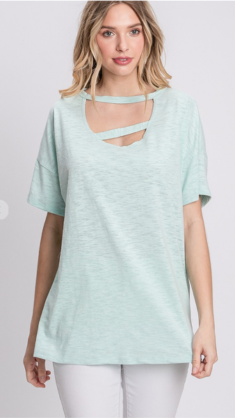 Never Stressed Top in Light Green