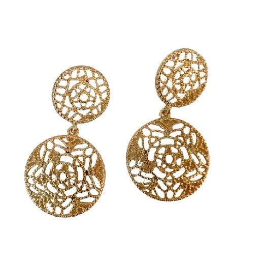 Floral Medallion Earrings in Gold