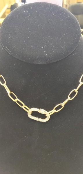 Hazel & Anne Gold Crystal Carabiner Necklace