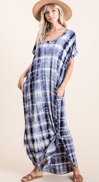 Tie Dyed Dress in Dark Blue