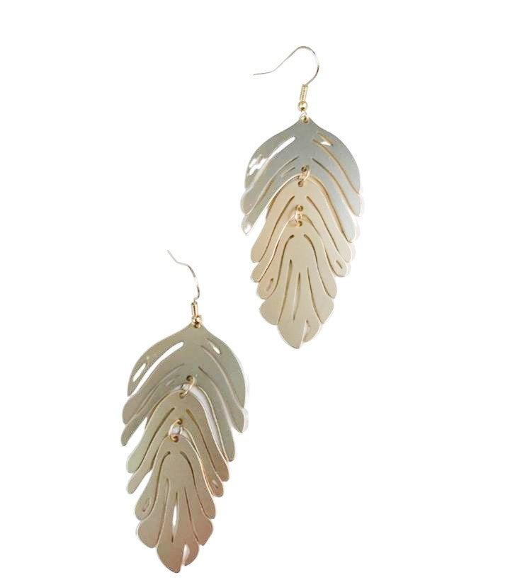 Falling Leaf Earrings in Gold