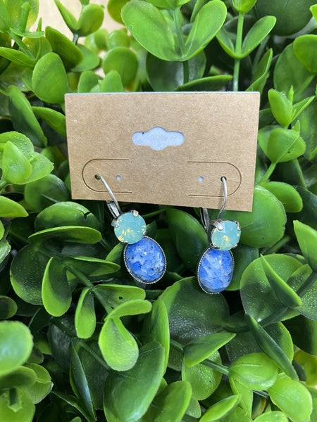 Teal Crystal and Blue Stone Earrings