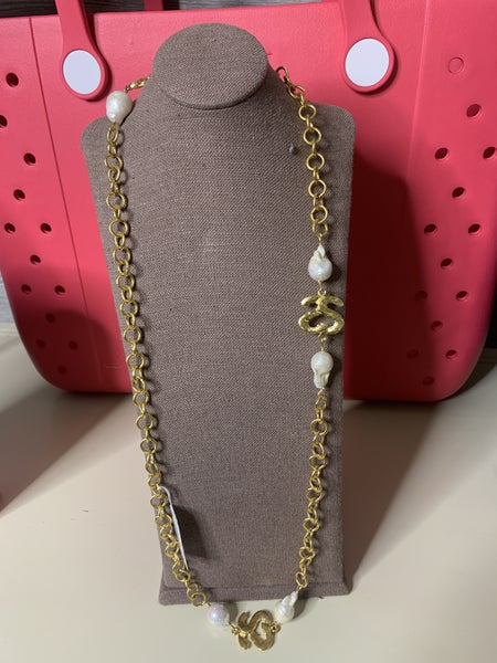 Susan Shaw Chain and Pearl Necklace
