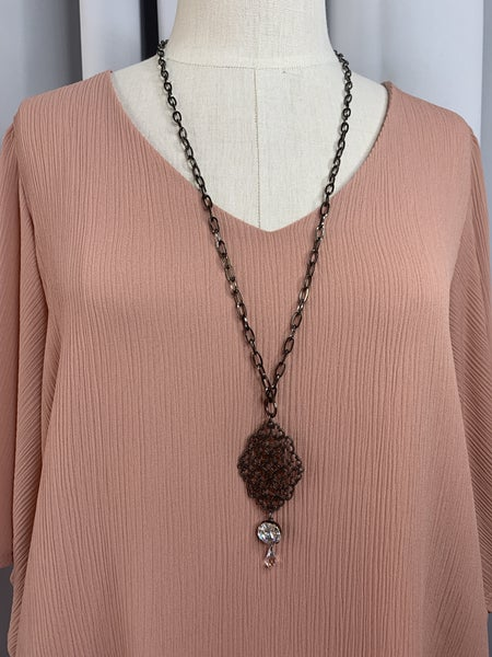 Black Necklace with Crystal Pendant