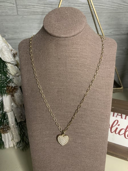 Heart of Pearl Necklace in Gold