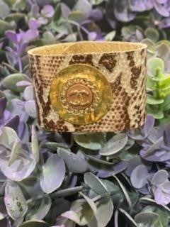 Repurposed Chanel Leather Bracelet  in Print