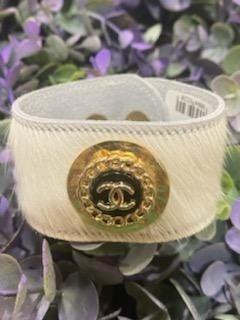 Repurposed Chanel Hide Bracelet  in White and Black