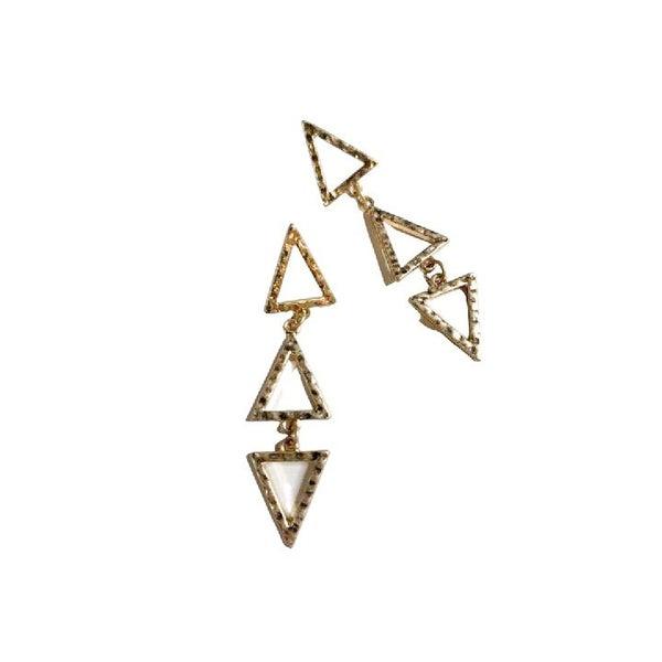 Dangling Triangle Earrings in Gold