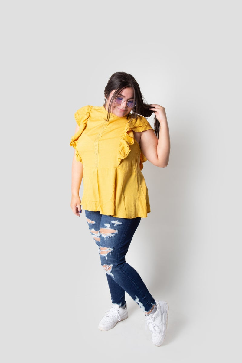 Phoebe Top in Dark Yellow