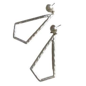 Necktie Earrings in Silver
