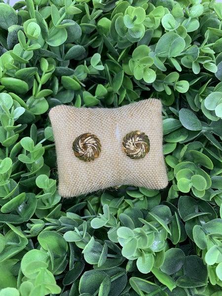 Woven Stud Earrings in Gold