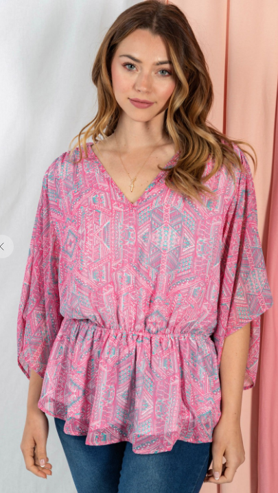 Island Paradise Blouse in Pink