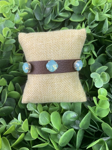 Leather Bracelet with Blue Crystal in Brown