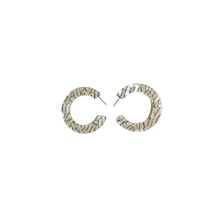 Distressed Earrings in White