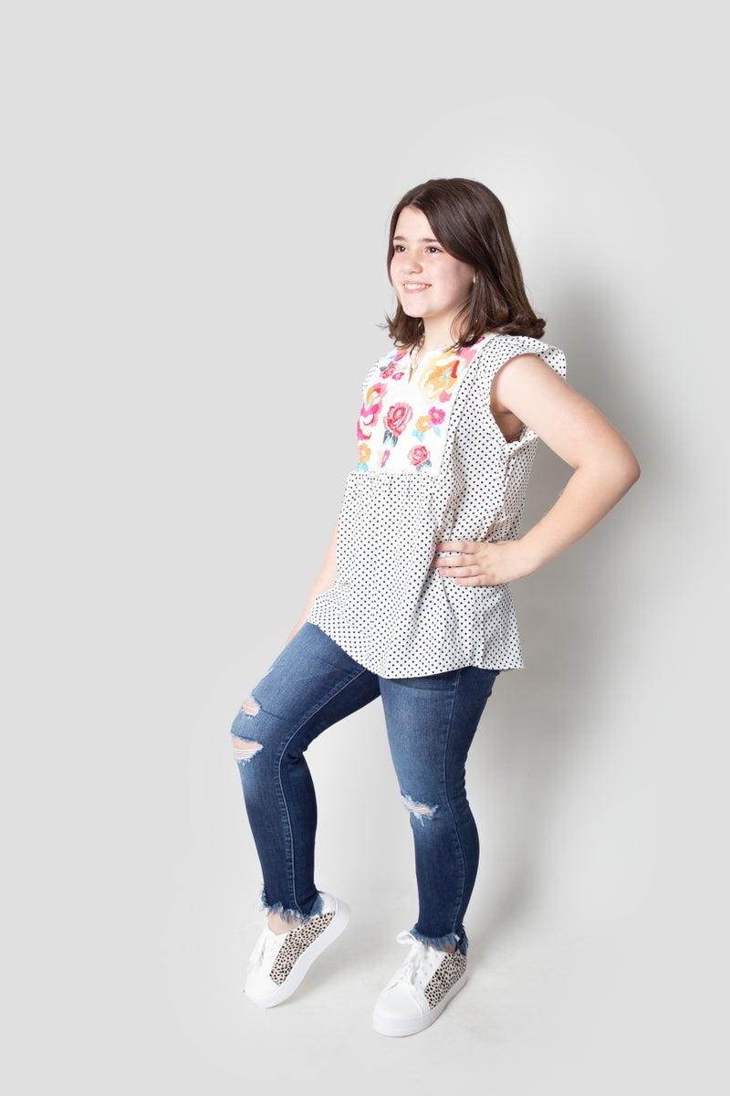 Dotted Line Top in Off White