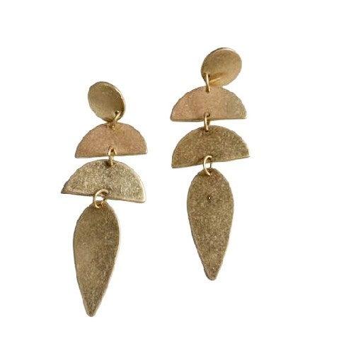 Geometric Drop Earrings in Gold