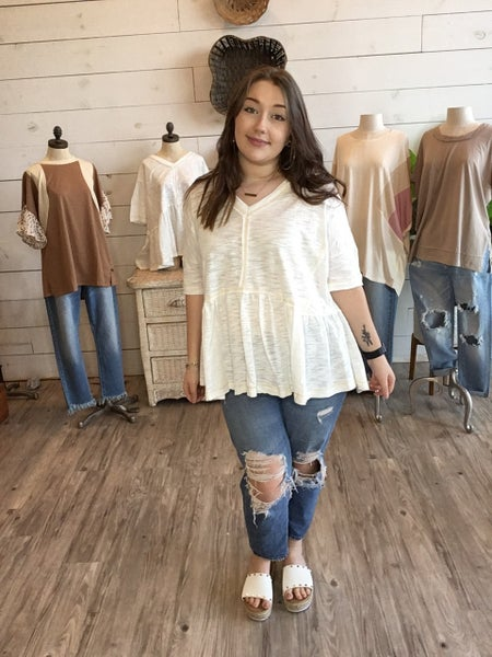 Poppin' in Peplum Top in Off White