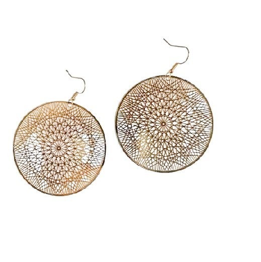 Caught in Your Web Earrings in Gold
