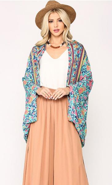 Floral Dreamer Kimono in Blue