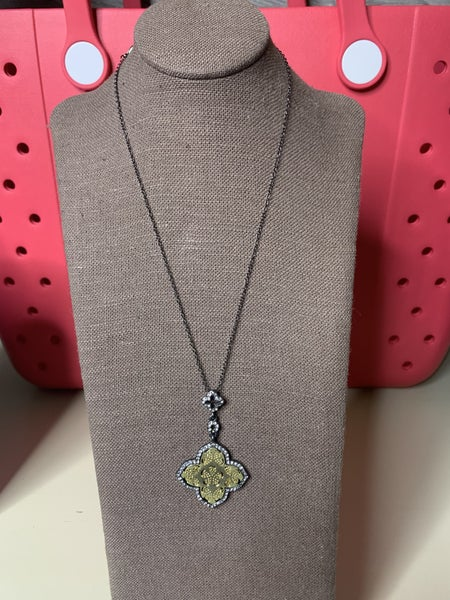 Crystal Celtic Pendant Necklace  in Black and Gold