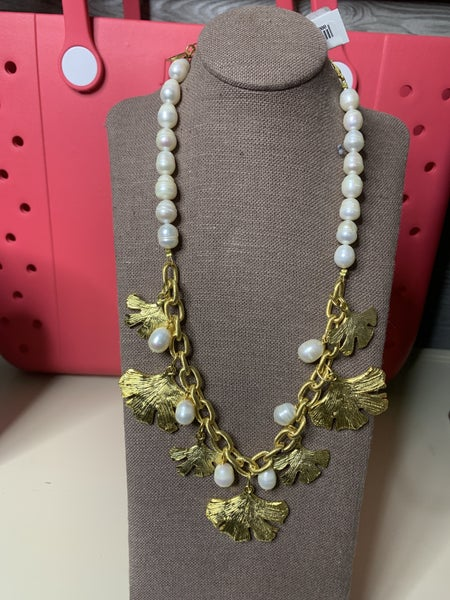Susan Shaw Pearl and Gold Leaf Necklace
