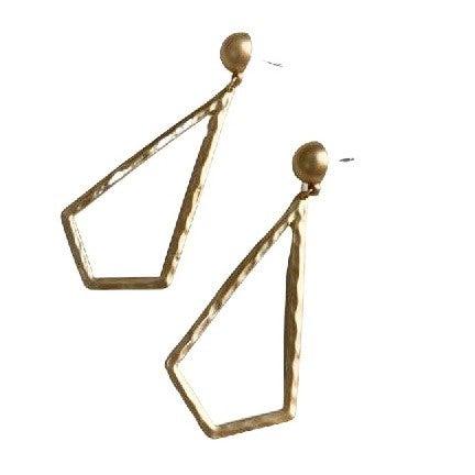 Necktie Earrings in Gold