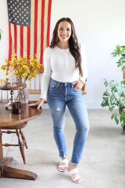 Carly Distressed High Rise Straight Jean