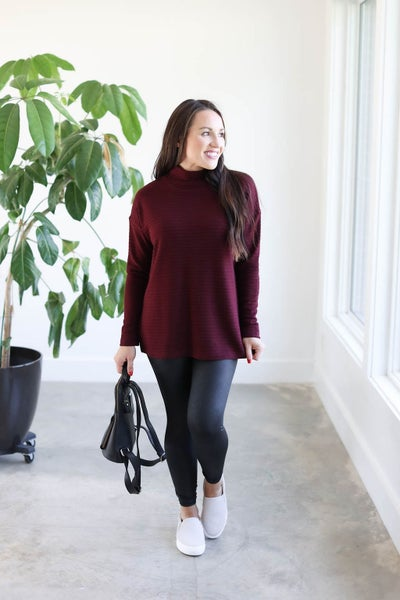 Mock Neck Ribbed Long-Sleeve Top