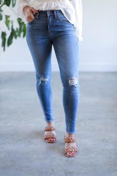 Hilarie Mid Rise Distressed Skinny Jean