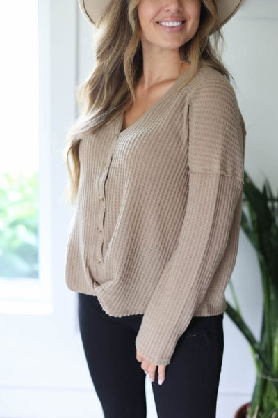 Waffle Knit Front Twisted Top