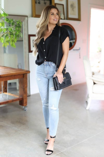 High Low Button Down Top