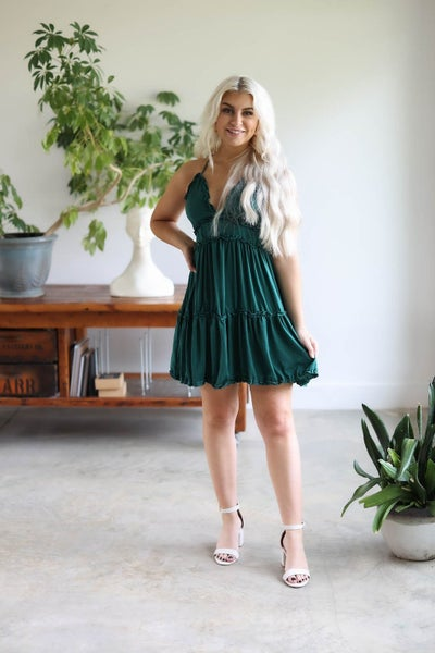 Satin Tiered Cami Dress