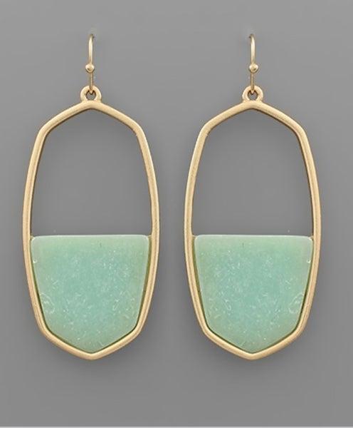 First In Line Hexagon Stone Earrings-mint