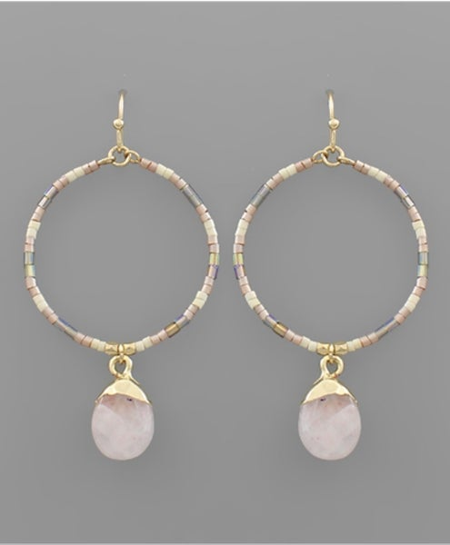 Charming Rose Gold Beaded Circle Earrings