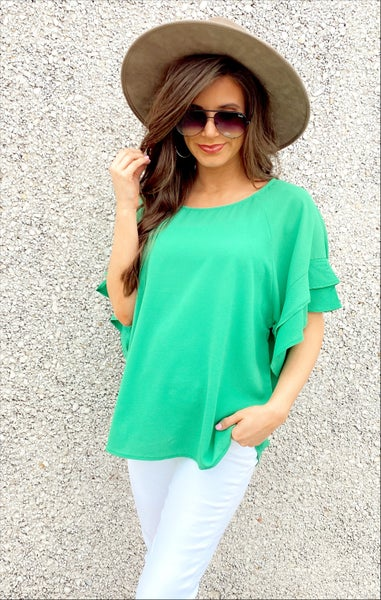 Green Ruffle Sleeve Top