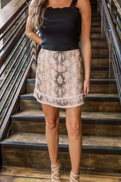 *Golden Snake Print Skirt