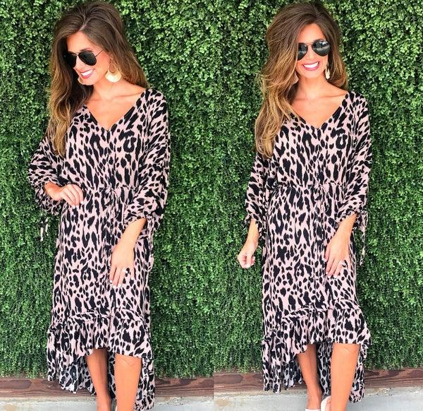 Leopard High Low Maxi Dress