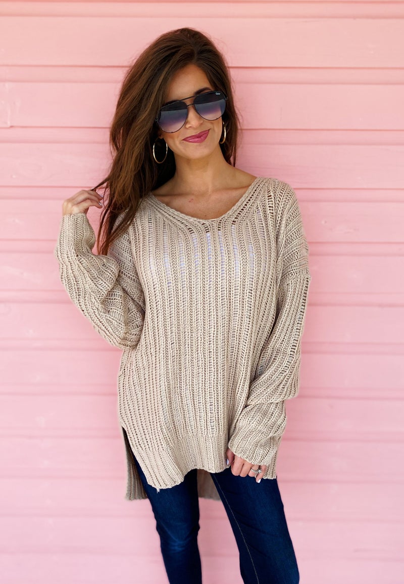 Thank Me Later Taupe Sweater